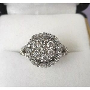 Jewelry - 1.20 carat 14k white gold diamond cluster ring